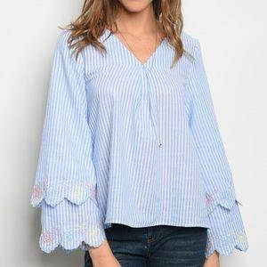 Long bell sleeve V-neck tunic blouse